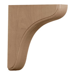 """Ekena Millwork - 1 3/4""""W x 7 1/2""""D x 7 1/2""""H Eaton Wood Bracket, Alder - Authentic wood brackets are the perfect choice for supporting countertops and shelving.  With the proper installation, these wood brackets can support up to 150lbs, which gives you the flexibility to use a decorative bracket for support.  Available in a variety of species, these brackets ship to you fully sanded and ready for your paint or stain."""