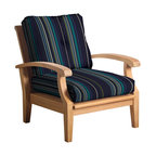 Douglas Nance - Set of 2, Douglas Nance Cayman Deep Seating Club Chairs, Marina - Douglas Nance Cayman has a distinctive casual flair with sumptuous cushions for premium relaxation. The cuts of teak are thick and solid yet the design curves offer a light, island feel. This collection also offers a loveseat and dining options. Includes made-to-order Sunbrella cushion.