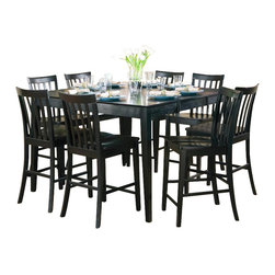 Coaster - Coaster Pines Counter Height Dining Table with Leaf in Black - Coaster - Dining Tables - 101038BLK -