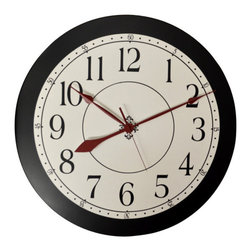 """WCD - Laural Wall Clock, 30"""" - Simple Black and White Wall Clock can be placed in many rooms in your home"""