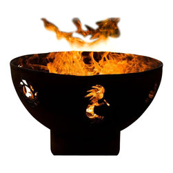 "Fire Pit Art - Kokopelli Outdoor Fire Pit - Paying homage to our Southwest heritage, the Kokopelli by Fire Pit Art reflects artistic interpretations of the curious gecko, traditional sun and the mischievious Hopi Indian God. You'll find this delightful fire pit brings hours of enjoyment to your outdoor gatherings.  Made from 1/4"" thick mild carbon steel, this durable pit a high temparture resistant inner bowl with rain drain. For a truly maintenance-free experience, it's made of American steel which offers corrosion and rust restistance for longevity during extended outdoor use. A charming outer iron oxide patina ages and darkens with time and is maintenance free.  Each dyanmic fire pit is numbered by the artist and reflected on an attached brass plate. Overall height of 24"" and a diameter of 36"".SpecificationsDimensions: (diameter x height)    Overall: D 36"" x  H 24""Material: 1/4"" Thick Mild Carbon SteelUse: Outdoors in outdoor living spacesMore Info: Pre-drilled rain drain for carefree maintenance      Warranty: 10-year warranty (after date of purchase) Made in: USA (Made in America)"
