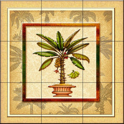 The Tile Mural Store (USA) - Tile Mural - Banana Palm 2   - Kitchen Backsplash Ideas - This beautiful artwork by Dan Morris has been digitally reproduced for tiles and depicts a framed palm tree in a pot.  With our enormous selection of tile murals of tropical plants and flowers you can bring your kitchen backsplash tile project to life. A decorative tile mural with plants and flowers is an impressive kitchen backsplash idea and decorative flower tiles also work great in the bathroom. Add splashes of color and life to your tile project with images of flowers on tiles and tiles with pictures of plants.