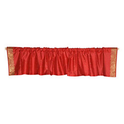 Indian Selections - Pair of Fire Brick Rod Pocket Top It Off Handmade Sari Valance, 43 X 15 In. - Size of each Valance: 43 Inches wide X 15 Inches drop