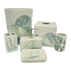Bacova Guild, Ltd. - La Mer Waste Basket by Bacova Guild - Turn your bathroom to an ocean side oasis with the La Mer Waste Basket. The calming blue, aqua, and green tones, mixed with seashell decals, bring the wonders of the sea into your home.