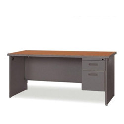 Lorell - Durable Single Pedestal Computer Desk with 2 Grommets - Office furniture is made of steel with a powder-coated textured finish for easy care. Durable laminate tops feature radius edges. Drawers and flipper doors glide on steel ball-bearings. Desk and credenza tops include 2'' grommets. Use the two grommets in each leg for cable connections between desks. Open shelves include wire channeling to desktop. Modular desking is Greenguard Indoor Air Quality Certified. Features: -Cherry Steel Laminate - Top.-Charcoal.-Grommet.-Lockable Drawer.-Single Pedestal Desk.-Ball-bearing Suspension.-Modesty Panel.-Leveling Glide.-Cord Management.-Durable.-Distressed: No.-Country of Manufacture: United States.Dimensions: -Dimensions: 72'' Width x 36'' Depth.-Overall Product Weight: 251 lbs.