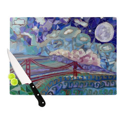 "Kess InHouse - Theresa Giolzetti ""San Fran"" Blue Teal Cutting Board (11"" x 7.5"") - These sturdy tempered glass cutting boards will make everything you chop look like a Dutch painting. Perfect the art of cooking with your KESS InHouse unique art cutting board. Go for patterns or painted, either way this non-skid, dishwasher safe cutting board is perfect for preparing any artistic dinner or serving. Cut, chop, serve or frame, all of these unique cutting boards are gorgeous."