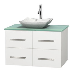 "Wyndham Collection - Centra 36"" White Single Vanity, Green Glass Top,Avalon White Carrera Marble Sink - Simplicity and elegance combine in the perfect lines of the Centra vanity by the Wyndham Collection. If cutting-edge contemporary design is your style then the Centra vanity is for you - modern, chic and built to last a lifetime. Available with green glass, pure white man-made stone, ivory marble or white carrera marble counters, with stunning vessel or undermount sink(s) and matching mirror(s). Featuring soft close door hinges, drawer glides, and meticulously finished with brushed chrome hardware. The attention to detail on this beautiful vanity is second to none."