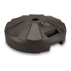 """Patio Living Concepts - Bronze Umbrella Base - Molded resin umbrella base has stainless steel hardware. For use with umbrellas with up to a 11?2"""" dia. pole. Easy fill spout and cap to secure up to 50 lbs. of sand filler for weight (sand not included). 16"""" dia. x 61?2"""" ht."""