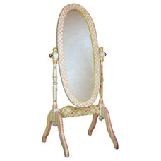 Traditional Kids Products Shabby Chic Floral Standing Mirror