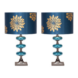 """Casa Cortes - Casa Cortes Costa Azul 23"""" Table Lamp - Set of 2 - Refresh the decor of your living space with the floral design of this glass large table lamp. Features an elegantly designed drum shade with gold flowers on a shiny blue background. The metal base is adorned with three glass elliptical balls that makes a breathtaking addition to modern, contemporary, and even transitional living spaces. Set includes 2 lamps."""