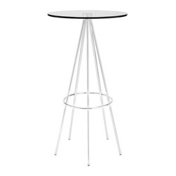 Modway - Modway EEI-1089 Sync Bar Table in Clear - Five chrome plated steel legs join together in unison with a modern bar table timed perfectly right for your gatherings. Topped with a tempered glass surface and outfitted with a footring near the base, Sync is a seamless piece that is both minimalist and delicately elaborate. Perfect for modern bar settings and lounge areas.