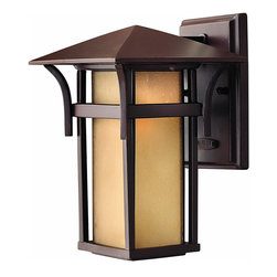 Hinkley - Harbor 1-Light Outdoor Wall Lantern Anchor - The Harbor Collection features an Anchor Bronze finish with Etched Amber Seedy glass.