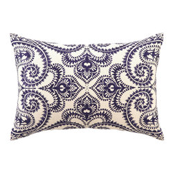 "DL Rhein - DL Rhein Amalfi Navy Embroidered Linen Pillow - A divine entanglement of twists and curves unfurl into a beautiful scrolling pattern on the Amalfi pillow. Embroidered in deep navy blue, this handcrafted pillow by DL Rhein accents a room with a touch of modern elegance. 14"" x 20""; Linen pillow with embroidered detail; Feather down insert included; Dry clean only"