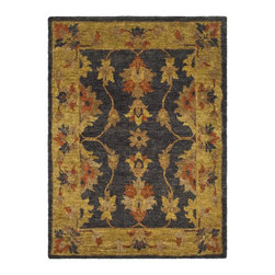 Safavieh - Bohemian Black/Yellow Area Rug BOH316A - 3' x 5' - Safavieh's Bohemian Collection is all-organic, with exquisitely fine jute pile woven onto a cotton warp and weft, and an earthy natural color palette. The high quality jute chosen for our Bohemian rugs is biodegradable and recyclable, with an innate sheen because it is harvested only from Cannabis Sativa (commonly known as the  true hemp plant), a quickly renewable resource that excels in length, durability, anti-mildew and antimicrobial properties. Safavieh brings fashion excitement to the eco-friendly rug category with the Bohemian collection's unique patterns, ribbed textures and remarkable hand. The rugs are washed to soften the yarn, and then brushed to an even more lustrous sheen. Hand Knotted in India.