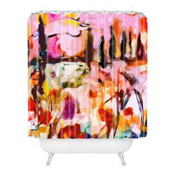 DENY Designs - Ginette Fine Art Abstract Tuscany Shower Curtain - Who says bathrooms can't be fun? To get the most bang for your buck, start with an artistic, inventive shower curtain. We've got endless options that will really make your bathroom pop. Heck, your guests may start spending a little extra time in there because of it!