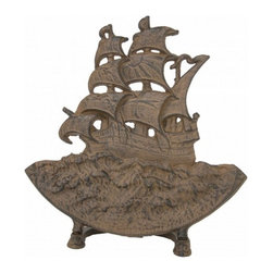 "Handcrafted Model Ships - Rustic Iron Sailboat Door Stop 15"" - Sailboat Decoration - The Rustic Iron Sailboat Door Stop 15"" allows you to show your affinity for sea life and keep your door propped open. This cast iron door stop has been given vintage rustic finish, and is the perfect nautical gift for a relative, friend, or coworker. This door stopper is fully functional and a great gift for the true nautical enthusiast in your life."