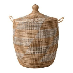 Serena & Lily - Senegalese Storage Basket  White/Light Peach (Medium) - Hand made by artisans in Africa, these covered baskets are a fun and textural way to store everything from toys to craft supplies, linens to laundry. Strips of recycled plastic are wrapped around coils of natural fiber to create bold zigzag patterns, and hand craftsmanship ensures that no two are exactly alike.