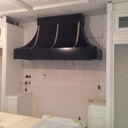 """Custom Range Hoods - La Canche black range hood 84"""" wide with brushed stainless accents"""