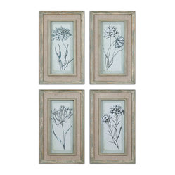 Uttermost - Aqua Flowers Framed Art, Set of 4 - A beautiful floral arrangement that never needs watering. Warmly weathered, aqua and taupe Firwood frames bring out the best of these blossoms. Introduce these botanicals into a sunroom or anywhere you need some fresh country essence.