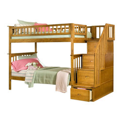 Atlantic Furniture - Atlantic Furniture Columbia Staircase Bunk Bed Twin Over Twin in Caramel Latte - Atlantic Furniture - Bunk Beds - AB55607