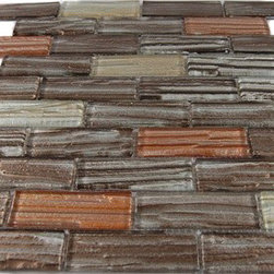 """GlassTileStore - Terrene Jupiter Blend 1x3 Glass Tiles - TERRENE PLUTO BLEND 1X3 GLASS TILES  This striking blend of metallic brown, beige and peach glass can make any room atheistically appealing. The wavy finish with the 3D background brings a distinctive design and will add a nice touch for a contemporary and modern room. This tile is great to use for the bathroom, kitchen or pool installation.      Chip Size: 1x3   Material: Glass   Color: Metallic Brown, Beige and Peach   Finish: Wavy   Sold by the Sheet - each sheet measures 11.25"""" x 11"""" (0.86 sq. ft.)   Thickness: 3mm    - Glass Tiles -"""