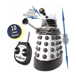 "KOOLEKOO - Doctor Who Remote Control Talking Dalek - Become the Progenitor yourself! Control the Supreme Dalek with 10 Dalek phrases and exterminator gun sound effects with the Doctor Who The Supreme 13-Inch Remote Control Talking Dalek. Activated using a 5-button sound selector, the talking feature of the radio control Dalek is easy to use and pulls phrases from the Eleventh Doctor's run on the BBC TV show Doctor Who. Not only can this Supreme Dalek speak, but it also comes with an illuminated eye for light-up features, a poseable gun, and arm. The Doctor Who The Supreme 13-Inch Remote Control Talking Dalek requires 4x ""AA"" batteries, included. Controller requires 1x ""9V"" battery, not included."