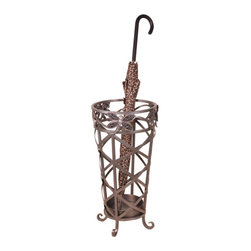 Welcome Home Accents - Dragonfly Umbrella Stand - This umbrella stand features metal cupped bottom to protect your home surfaces while you store your umbrellas.  Features hand inlaid bejeweled dragonflies. Intricate metal curves with antiqued nickel finish.  Durable metal frame.  Dust with a dry cloth.