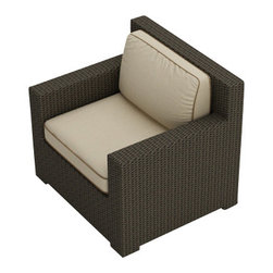 Forever Patio - Hampton Modern Wicker Club Chair, Chocolate Wicker and Beige Cushions - The Forever Patio Hampton Rattan Patio Club Chair with Cream Sunbrella cushions (SKU FP-HAM-CC-CH-AC) provides roomy seating for 1, with deep seats and wide, modern armrests. The UV-protected, chocolate-colored wicker sports a flat woven design, creating a contemporary look with clean lines. Each strand of this outdoor wicker is made from High-Density Polyethylene (HDPE) and is infused with its rich color and UV-inhibitors that prevent cracking, chipping and fading ordinarily caused by sunlight. This outdoor club chair is supported by thick-gauged, powder-coated aluminum frames that make it more durable than natural rattan. This chair includes fade- and mildew-resistant Sunbrella cushions for added comfort in your outdoor space.
