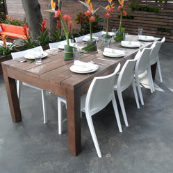 outdoor dining table made from reclaimed wood made in los angeles for