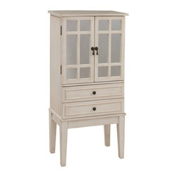 Coast To Coast - Coast To Coast - Jewelry Armoire In Kegleys Antique White - 67413 - This jewelry storage chest has a place for everything. Finished in a clean Kegleys Antique White, it is perched on tall tapered legs. There are two bottom drawers, and four more behind the mirrored doors. The top opens to reveal special compartments plus another mirror. Each side panel opens to reveal even more space for hanging items.
