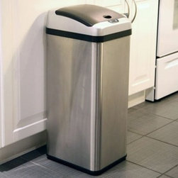 "iTouchless IT13RX Trashcan RX Stainless Steel 13 gal. Trash Can - Reduce the mess in your kitchen with the iTouchless IT13RX Trashcan RX Stainless Steel 13 Gallon Trash Can. This 100% touch-free trash can uses the AI Smart-Chip M technology to open the lid when it detects movement within 6 inches and it has the capacity to hold larger items like a full-size pizza box. The Advanced Seal technology features sealed-away lid hinges for better performance and easier cleaning as well as longer-lasting and quieter lid operation. The rectangular 13-gallon RX trash can is constructed from durable stainless steel with a brushed silver finish. Its removable top cover allows for easy cleaning. It also helps prevent contamination which reduces the threat of certain illnesses and infections. The water-resistant sensor guard prevents liquid and stain damage. Even better your kids will have the enjoyment of throwing the trash away into the """"magically"""" opening container. Other features include a dust-resistant lid air-escape holes at the base for trash bag removal and a carrying handle for easy lifting. Uses 4 D-size batteries (not included) with an optional AC power adapter. The lid has a three-year warranty. Dimensions: 13L x 10.5W x 28.25H inches.About iTouchlessiTouchless Housewares & Products creator of the Touchless Trashcan EZ Faucet and Towel-Matic manufactures and distributes a line of innovative products for your home and office. Their mission: to make people's lives a little easier by using their products. Over the last 15 years iTouchless has established a solid foundation and assembled multiple factories in Asia to support the increasing demand of sensor-activated products. Their vision for the future is to create a continuous stream of customer-driven innovations while selecting strategic partners and distributors to form mutually beneficial relationships."