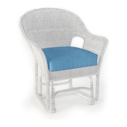 Forever Patio - Rockport Traditional Patio Single Glider Chair, Air Blue Cushions - The gentle motion of the Rockport Single Glider (SKU FP-ROC-G1-WH-AB) and its classic looks make it the perfect relaxation chair for your patio. Its UV-protected White wicker and round-weave design creates a cheery, traditional look that is made to last. This glider includes a fade- and mildew-resistant Sunbrella cushion; the industry's best outdoor fabric.