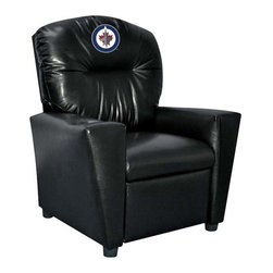 Imperial International - Winnipeg Jets NHL Faux Leather Tween Recliner - Check out this awesome Tween Recliner - it's the perfect size for those Tween years. Now the whole family can join in and watch the game in their favorite chair! It has a great contemporary design with black faux leather all over, and a cup holder. The team logo is embroidered and sewn on the headrest. It's perfect for your Man Cave, Game Room, Garage or Basement.