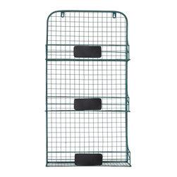 Enchante Accessories Inc - Distressed Metal Vintage Syle 3 Tier Wall Shelf (Green) - Wire metal 3 tier wall shelf