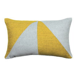 "LaCozi - ""Bello"" Citron & Grey Jacquard Oblong Pillow - Add a graphic pop of color to your sofa or chair with this contemporary accent pillow.  Double-stitched seams and reinforced stress points provide durable construction that will last you for years, while the easy-to-remove feather insert makes cleaning a snap."