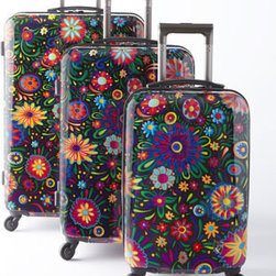 "Heys - Heys ""Flowers Dance"" 30""T Spinner - Polycarbonate composite luggage with high-gloss finish is bursting with colorfulfloral ""fireworks""—images by world-famous artist Claudio Limon. Spinners have modern chrome trolley handles, Air Glide® spinner wheels, and built-in three-digit...."