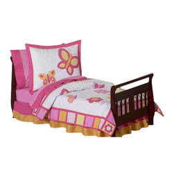 Sweet Jojo Designs - Butterfly Pink & Orange Toddler Bedding Set - Break out the Big Girl bedding, your toddler is moving up in the world! She'll bloom when she sees the bright blossoms and butterflies that adorn this pink and orange bedding set. Included is everything you need to create an inviting environment for your child's sleep: A comforter, fitted sheet, flat sheet, pillow sham and pillow case. This soft, non allergenic, machine washable set will be a staple in your child's room for years to come.