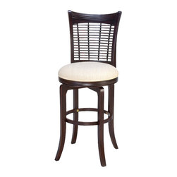 Hillsdale Furniture - Hillsdale Bayberry Wicker Swivel 24 Inch Counter Height Stool - Finished in a dark cherry or a classic oak, our Bayberry stools combine the clean lines of a transitional design with the unique addition of a bamboo effect in the stool back. These stools have a cream colored fabric seat. Made from hardwoods, these stools are composed of both solids and climate controlled wood composites to prevent cracking and splitting from changes in temperature or humidity.