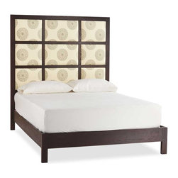"Viva Terra - Mandala Panel Bed - The neutral, delicate mandala print on our bed is suitable for any decor.  Exhibiting textile fabric mastery and visual appeal, they offer an exhilarating alternative to the often-predictable look of an upholstered bed. The stately nine-panel headboard is framed in solid red oak, which also graces the frame. Made in the USA by an eco-furniture maker renowned for high quality and sustainable practices. Each bed is unique. QUEEN 66""W x 86""L x 72""HKING 82""W x 86""D x 72""HCAL KING 78""W x 90""D x 72""H"