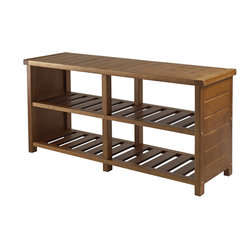 "Winsome Wood - Winsome Wood Keystone Shoe Bench in Teak - Organize your shoes in your closet, bedroom or entryway with the Keystone Shoe Bench. For closet, use top seat as extra shelf to stack clothes or place more shoes. Top dimension 38.43""W x 11.81""D. Bottom two slated shelves has four sections with each dimension about 17.15""W x 11""D x 7.2""H. Made of Combination of Solid and Composite wood in Teak Finish. Weight Capacity is 200 lbs. Assembly Required. Bench (1)"