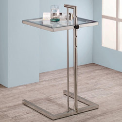 Adjustable Snack Table - This glass top snack table can adjust in height at four levels. The square table top is adjustable in height from 20.5 inches to 29.25 inches in height. Base finished in chrome.