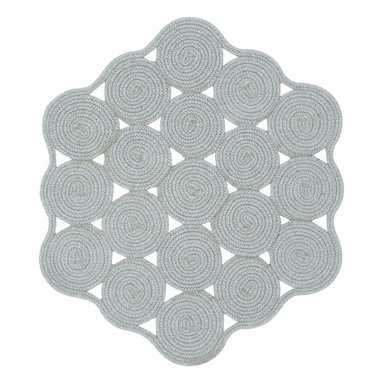 Hableland Crochet rug in Light Grey - This isn't your grandmother's braided rug! This is a beauty. Traditional braids reconfigured into a doily-esque rug shape. The rug is inspired by a vintage rug that Susan and Katharine Hable's grandmother Mimi in Texas had during their childhood. Creating a contemporary version of this one-of-a-kind braid was a dream come true for the sisters.