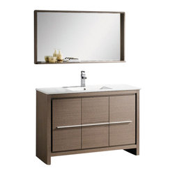 Fresca - Fresca FVN8148GO Allier 48 Inches Gray Oak Modern Bathroom Vanity With Mirror - Fresca FVN8148GO Allier 48 Inches Gray Oak Modern Bathroom Vanity With Mirror