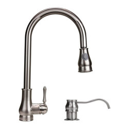 Dyconn Faucet - Dyconn Brushed Nickel 18-inch Lever Handle Faucet - Give your kitchen a beautiful traditional look with this 18-inch brushed-nickel faucet. At 18 inches high,the faucet has a tall style that looks great in a wide variety of settings. Its lever handle makes it easy to quickly adjust water temperature.