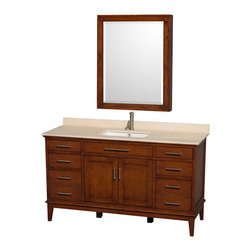 "Wyndham Collection - Hatton 60"" Light Chestnut Single Vanity w/ Ivory Marble Top & Square Sink - Bring a feeling of texture and depth to your bath with the gorgeous Hatton vanity series - hand finished in warm shades of Dark or Light Chestnut, with brushed chrome or optional antique bronze accents. A contemporary classic for the most discerning of customers. Available in multiple sizes and finishes."