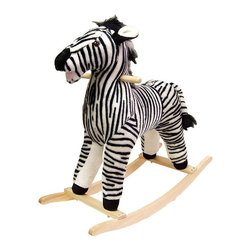 Happy Trails - Black & White Striped Plush Zebra Rocking Ani - Recommended for ages 2 yrs. old & up. Recommended Weight Limit: 80 lbs.. Soft and plush to the touch. Hand crafted with a hard wood core and stands on sturdy wood rockers. 28.75 in. L x 12 in. W x 28 in. H (13 lbs.). Seat Height: 19 in.This lovable, cuddly zebra will be a sure hit with any child. This one will give any rocking horse a run for its money.