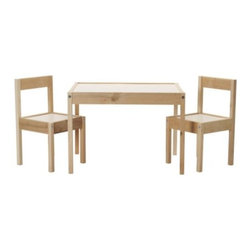 LÄTT Children's table and 2 chairs - Children's table and 2 chairs, white, pine