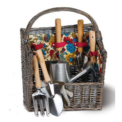 """Picnic Plus - Countryside Garden Basket, Floribunda - With a classical antique finish, the Picnic Plus Countryside Garden Tool Basket makes a useful gift for both avid and novice gardeners. Featuring our exclusive April Cornell Floribunda pattern lining, this 8 piece set includes: hand trowel, cultivator, weeder, transplanter, hand hoe & fork, watering can, gardening gloves, and hand crafted willow basket. Easy clean laminated lining keeps dirt and debris away. This garden tool set make the perfect basket for taking to your garden for planting & gathering flowers. A thoughtful gift for all gardeners; 8 piece garden tool willow basket by Picnic Plus;Country of Origin: China;Weight: 5 lbs;Dimensions: 13 1/2W"""" x 7 1/2""""D x 18""""H"""