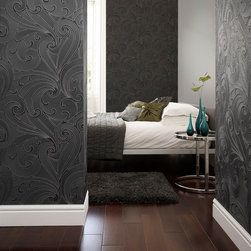 Graham & Brown - Saville Wallpaper - Ornamental and simple. The swirls in this design are line drawn with glitter for a soft finish. This graphic shape is combined with luscious metallic's for an industrial look.