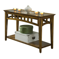 Riverside Furniture - Riverside Andorra Sofa Table in Burnished Oak - Riverside Furniture - Console Tables - 5315K - The Arkansas River Valley is home of majestic forests, ruggedly beautiful mountains, gurgling brooks and swiftly flowing rivers. It is also the home of Riverside Furniture Corporation. But like they would with any old friend, most folks refer to us just by our first name.